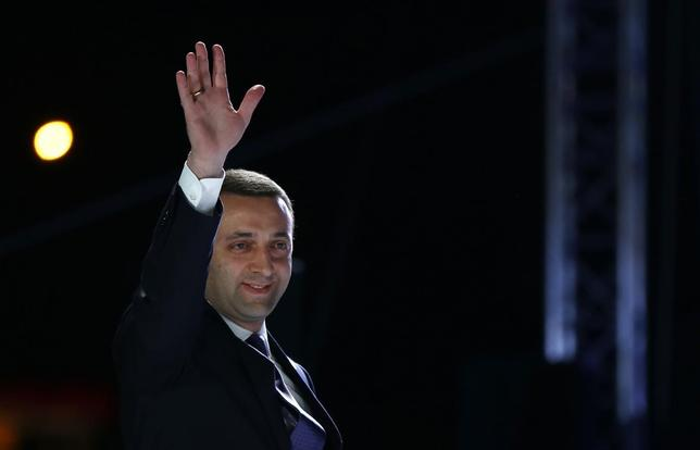 Georgia's Prime Minister Irakly Garibashvili greets people during celebrations for the signing of an association agreement with the EU in Tbilisi June 27, 2014.  REUTERS/David Mdzinarishvili