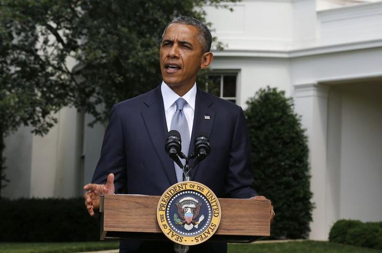 U.S. President Barack Obama speaks about Ukraine at the White House in Washington, July 21, 2014.  REUTERS/Larry Downing