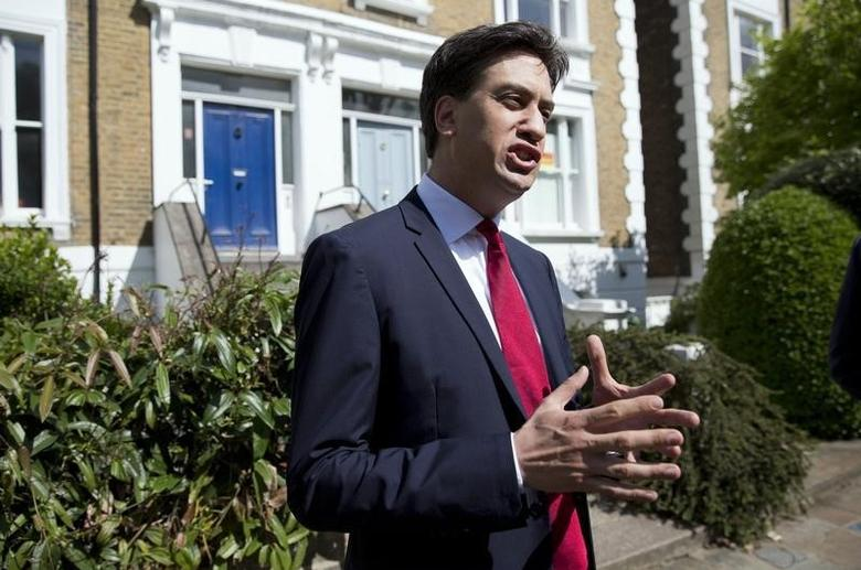 Britain's leader of the opposition Labour Party Ed Miliband speaks to the media outside his home, following nationwide local election results, in London May 23, 2014 file photo. REUTERS/Neil Hall