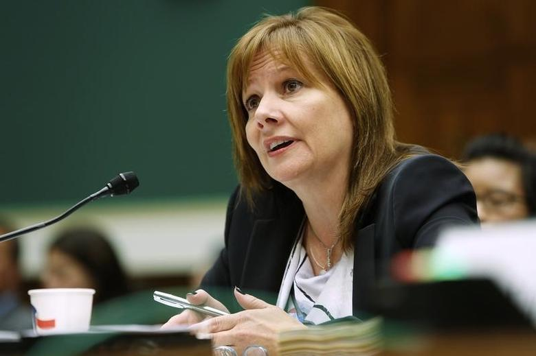 General Motors CEO Mary Barra testifies before a House Energy and Commerce Oversight and Investigations Subcommittee hearing on the GM ignition switch recall on Capitol Hill in Washington June 18, 2014. REUTERS/Jonathan Ernst