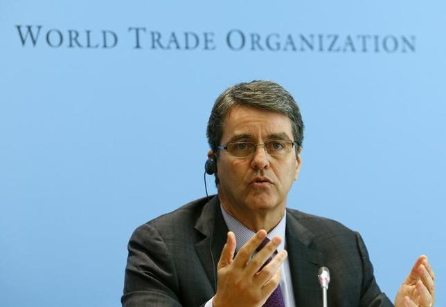World Trade Organization (WTO) Director-General Roberto Azevedo gestures during a news conference in Geneva April 14, 2014. REUTERS/Denis Balibouse/Files