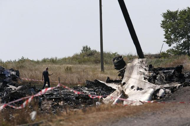 A Malaysian air crash investigator works at a crash site of the Malaysia Airlines Flight MH17 near the village of Hrabove (Grabovo), Donetsk region July 24, 2014. REUTERS/Maxim Zmeyev