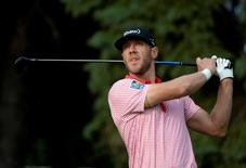 Graham DeLaet tees off the 10th hole during the second round of the RBC Canadian Open at Royal Montreal GC - Blue Course.  Jul 25, 2014; Ile Bizard, Quebec, CANADA; Eric Bolte-USA TODAY Sports
