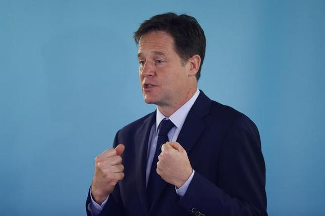 Britain's Deputy Prime Minister and leader of the Liberal Democrats, Nick Clegg, delivers a speech on international development, in London May 28, 2014.   REUTERS/Andrew Winning