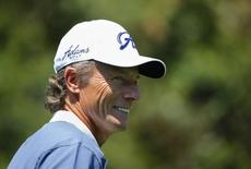 German golfer Bernhard Langer smiles during the Par 3 Contest ahead of the Masters golf tournament at the Augusta National Golf Club in Augusta, Georgia April 9, 2014. REUTERS/Mike Blake