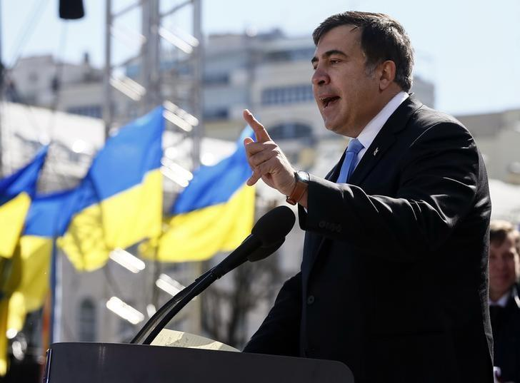 Former Georgian president Mikhail Saakashvili addresses members of a Batkivshchyna party during a meeting in central Kiev, March 29, 2014.   REUTERS/Gleb Garanich