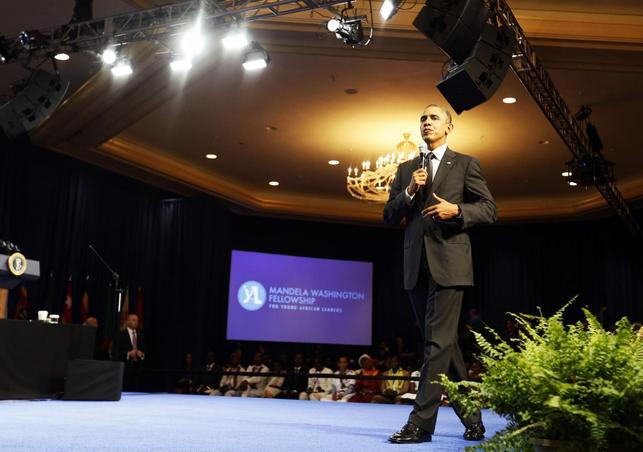 U.S. President Barack Obama participates at the Summit of the Washington Fellowship for Young African Leaders at the Omni Shoreham Hotel in Washington, July 28, 2014.     REUTERS/Larry Downing