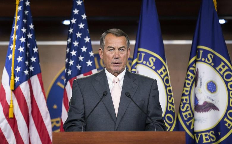 Speaker of the House John Boehner (R-OH) speaks to the media on Capitol Hill in Washington July 10, 2014.      REUTERS/Joshua Roberts