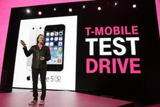 T-Mobile CEO John Legere announces the T-Mobile Test Drive at his company's Uncarrier 5.0 event in Seattle, Washington June 18, 2014.  REUTERS/Jason Redmond