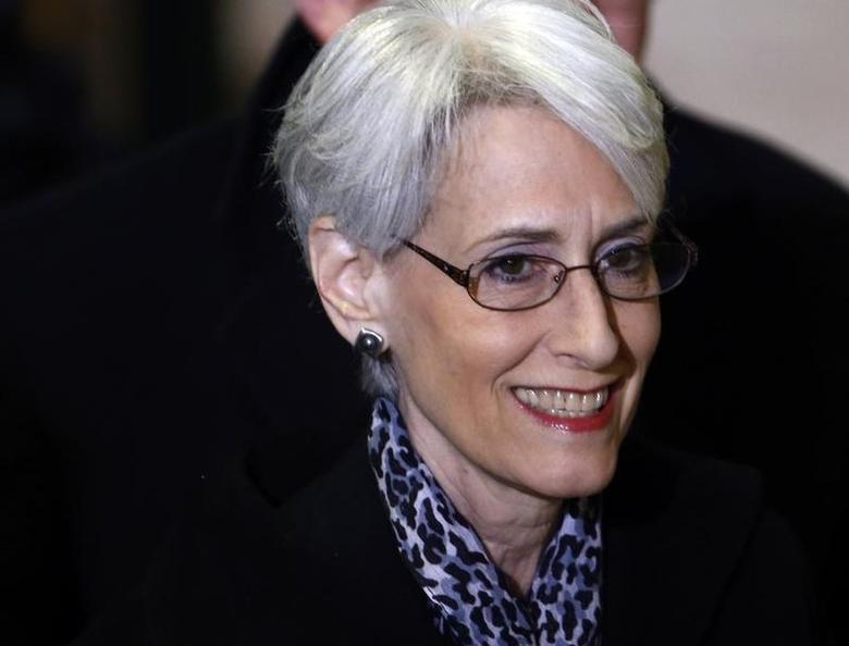 U.S. Under Secretary of State for Political Affairs Wendy Sherman arrives for a meeting on Syria at the United Nations European headquarters in Geneva February 13, 2014.    REUTERS/Denis Balibouse