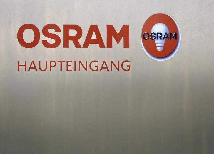 The logo of lamp manufacturer Osram is pictured at the headquarters in Munich February 26, 2014. REUTERS/Michaela Rehle