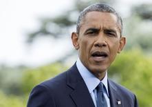 Presidente dos Estados Unidos, Barack Obama, fala com jornalistas sobre imposição de sanções à Rússia. 29/07/2014. REUTERS/Joshua Roberts