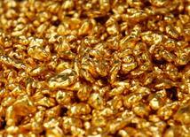 Pepitas de oro en una joyería de Chiba, Japón, sep 14 2009. El oro caía el miércoles, presionado por el avance del dólar a máximos de varios meses tras un dato más sólido a lo esperado de crecimiento económico en Estados Unidos y antes de un comunicado de la Reserva Federal que podría dar señales sobre la política del banco en torno a las tasas de interés.  REUTERS/Yuriko Nakao