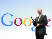 Google Chairman Eric Schmidt speaks at a Motorola phone launch event in New York, in this file photo taken September 5, 2012.   REUTERS/Brendan McDermid/Files