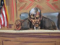 Boceto judicial del juez Thomas Griesa en la corte de Nueva York, jul 22 2014. El juez de distrito de Manhattan Thomas Griesa agendó una audiencia para el viernes 1 de agosto en el caso que enfrenta a Argentina con tenedores de deuda no reestructurada, dijo un funcionario de la corte. REUTERS/Jane Rosenberg