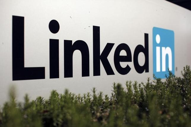 The logo for LinkedIn Corporation, a social networking networking website for people in professional occupations, is shown in Mountain View, California February 6, 2013.  REUTERS/Robert Galbraith/Files