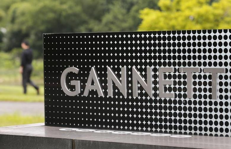 The logo of Gannett Co is seen outside their corporate headquarters in McLean, Virginia, July 23, 2013.         REUTERS/Larry Downing