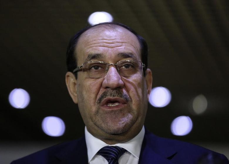 Iraqi Prime Minister Nuri al-Maliki speaks during a news conference after a meeting with speaker of parliament Salim al-Jabouri in Baghdad July 26, 2014.  REUTERS/Stringer