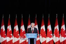 Canada's Prime Minister Stephen Harper speaks during a ceremony to commemorate the 100th anniversary of the outbreak of World War I (WWI) at the Canadian War Museum in Ottawa August 4, 2014. REUTERS/Chris Wattie