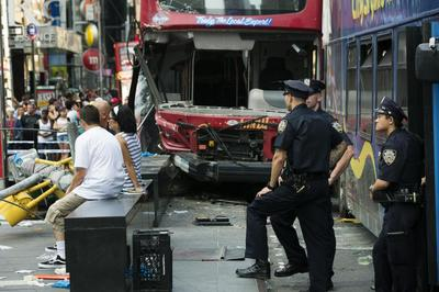 Bus collision in Times Square