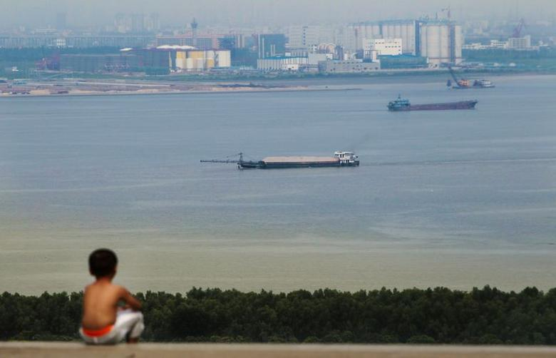 A boy looks at cargo ships passing along the Pearl River in Guangzhou, Guangdong province, August 6, 2014.REUTERS/Alex Lee