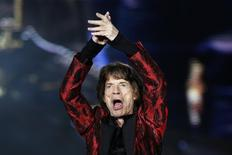 Mick Jagger durante show dos Rolling Stones no estádio Santiago Bernabeu, em Madri. 25/6/2014. REUTERS/Juan Medina