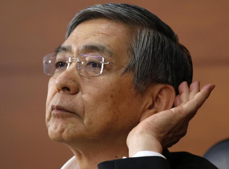 Bank of Japan (BOJ) Governor Haruhiko Kuroda listens to a question during a news conference at the BOJ headquarters in Tokyo August 8, 2014. REUTERS/Toru Hanai