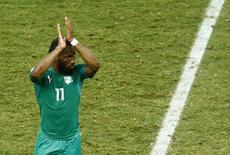 Didier Drogba, da seleção da Costa do Marfim, é substituído durante partida contra a Grécia na Copa do Mundo. 24/06./2014. REUTERS/Mike Blake