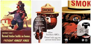 Smokey Bear is pictured in a series of US Forest Service posters (L-R 1945, 1966 and 2007) in this combination of undated handout photos obtained by Reuters August 8, 2014. REUTERS/U.S. Forest Service/Handout via Reuters