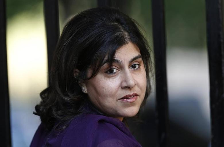 Britain's state minister Sayeeda Warsi arrives for a cabinet meeting at Number 10 Downing Street in London August 29, 2013. REUTERS/Suzanne Plunkett