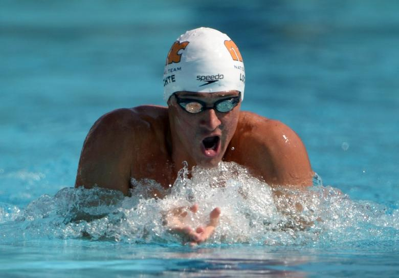 Aug 10, 2014; Irvine, CA, USA; Ryan Lochte swims 1:59.05 in a 200m individual medley heat to advance to the final in the 2014 USA National Championships at William Woollett Jr. Aquatics Complex. Mandatory Credit: Kirby Lee-USA TODAY Sports