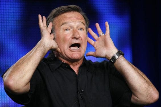 Robin Williams gestures during a panel discussion for his upcoming HBO show 'Robin Williams: Weapons of Self-Destruction' at the Television Critics Association Cable summer press tour in Pasadena, California July 30, 2009. REUTERS-Mario Anzuoni-Files