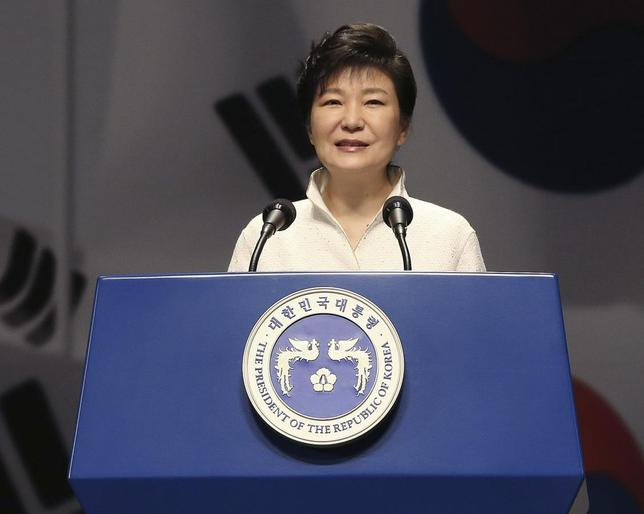 South Korean President Park Geun-hye speaks during a ceremony marking the 69th anniversary of liberation from Japan's 1910-45 colonial rule, on Liberation Day in Seoul August 15, 2014. REUTERS/Ahn Young-joon/Pool