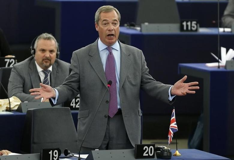 UK Independence Party (UKIP) leader Nigel Farage addresses the European Parliament during a debate on the last European Council meeting in Strasbourg, July 2, 2014.    REUTERS/Jean-Marc Loos