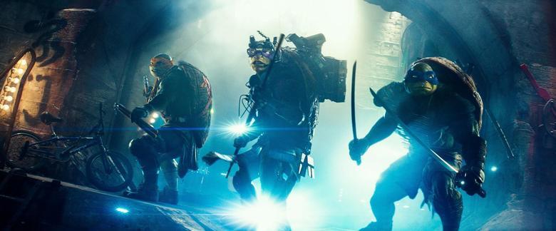 (L-R) Michelangelo, Donatello, and Leonardo in Teenage Mutant Ninja Turtles. REUTERS/Paramount Pictures