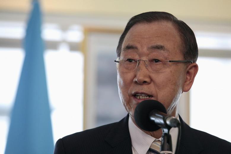 United Nations Secretary General Ban Ki-moon addresses the media next to Nicaragua's President Daniel Ortega (not pictured) in Managua July 29, 2014.  REUTERS/Diana Ulloa
