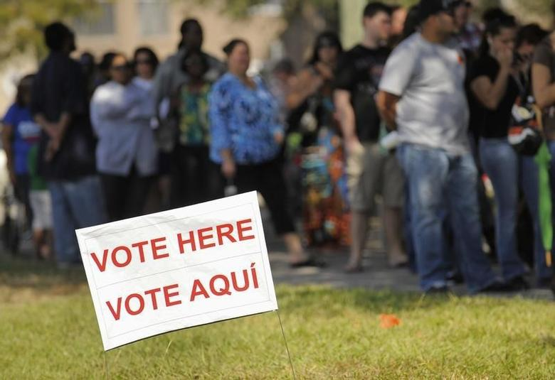 People wait to vote during an election in Kissimmee, Florida, November 6, 2012.  REUTERS/Scott A. Miller