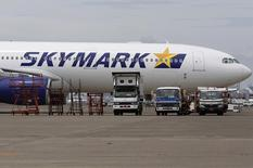 A Skymark Airlines Inc's airplane is parked at Haneda airport in Tokyo August 4, 2014. REUTERS/Yuya Shino