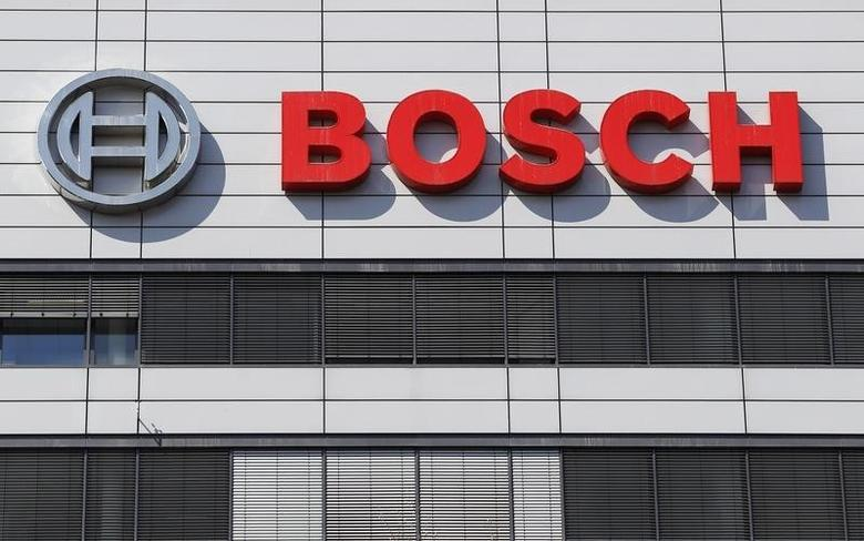 The logo of Bosch is pictured on its headquarters in Stuttgart April 18, 2013. REUTERS/Lisi Niesner