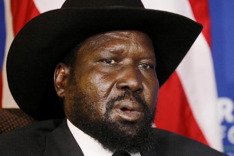 South Sudan's President Salva Kiir speaks during a meeting with U.S. Secretary of State John Kerry at the U.S.-Africa Business Forum in Washington August 5, 2014.   REUTERS/Jim Bourg