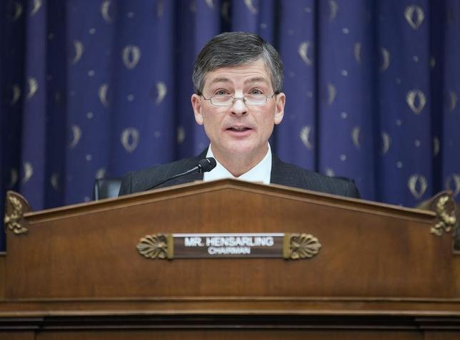 Chairman of the House Financial Services Committee, Jeb Hensarling (R-TX) questions financial regulators about the effects of the Volcker Rule on employment in Washington on February 5, 2014.      REUTERS/Joshua Roberts