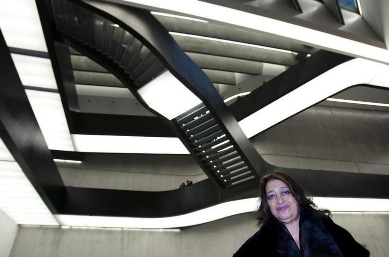 Iraqi-born architect Zaha Hadid poses inside Maxxi museum of contemporary art and architecture in Rome November 13, 2009. The museum opens its doors to the public in Spring of 2010.  REUTERS/Max Rossi
