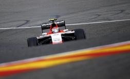 Marussia Ferrari Formula One driver Alexander Rossi of the U.S. drives during the first practice session at the Belgian F1 Grand Prix in Spa-Francorchamps August 22, 2014. REUTERS/Yves Herman