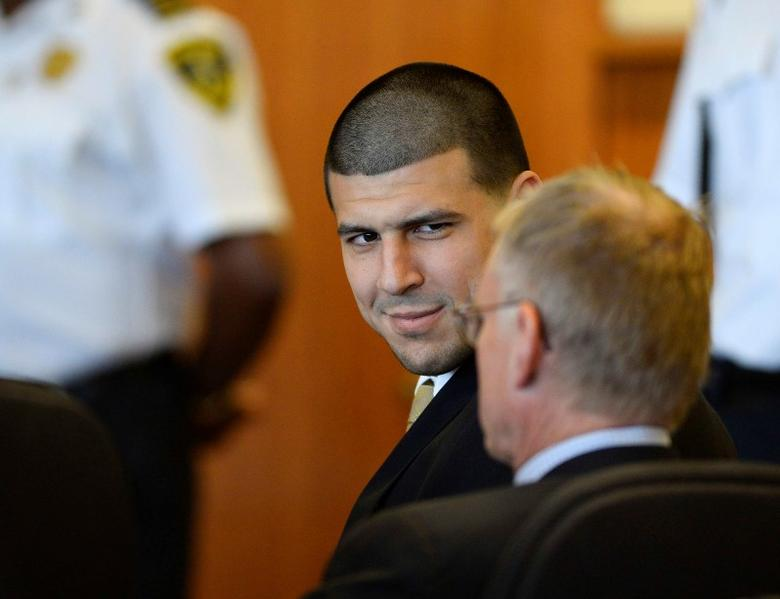 Former NFL player Aaron Hernandez attends a hearing in Bristol County Superior Court in Fall River, Massachusetts, July 22, 2014.   REUTERS/CJ Gunther/Pool