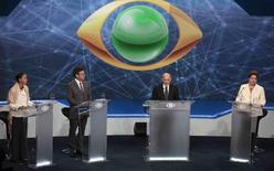 Candidatos Marina Silva, Aécio Neves e Dilma Rousseff em debate na Band, em São Paulo, mediado pelo jornalista Ricardo Boechat. 26/08/2014  REUTERS/Paulo Whitaker
