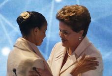 Candidatas à Presdiência Marina Silva e Dilma Rousseff antes do debate na Band, em São Paulo. 26/08/2014  REUTERS/Paulo Whitaker
