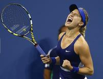 Eugenie Bouchard of Canada celebrates defeating Barbora Zahlavova Strycova of the Czech Republic during their women's singles match at the 2014 U.S. Open tennis tournament in New York August 30, 2014. REUTERS/Adam Hunger