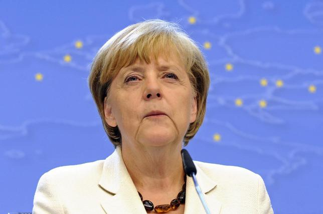 Germany's Chancellor Angela Merkel holds a news conference after a EU summit in Brussels August 31, 2014. REUTERS/Eric Vidal