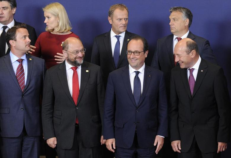 European leaders take part in a group photo at the European Union summit in Brussels August 30, 2014. REUTERS/Eric Vidal