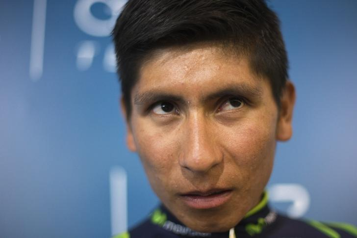 Movistar cyclist Nairo Quintana of Colombia reacts during the presentation of Movistar's cycling team in Madrid January 31, 2014. REUTERS/Juan Medina